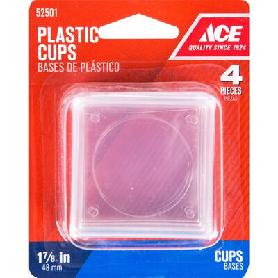 Ace Plastic Square Caster Cup Clear 1-7/8 in. W x 1-7/8 in. L 4 pk