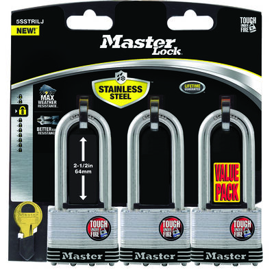 Master Lock 2 in. W Stainless Steel 4-Pin Cylinder Padlock