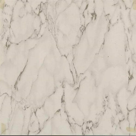 Self-Adhesive Floor Tile, 12 in L Tile, 12 in W Tile, 1.22 mm Thick Total, Marble White