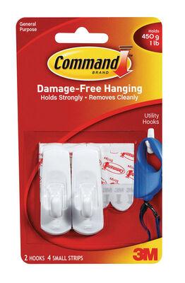 3M Command Small Utility Hook 2-3/8 in. L Plastic 1 lb. per Hook 2 pk