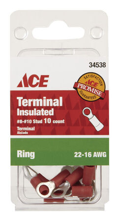 Ace Industrial Ring Terminal Vinyl 10 Red