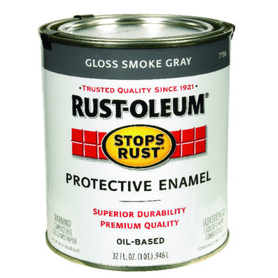 Rust-Oleum Indoor and Outdoor Oil Based Protective Enamel Smoke Gray Gloss 1 qt.