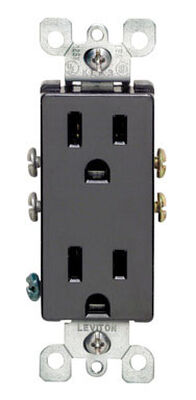 Leviton Decora Electrical Receptacle 15 amps 5-15R 125 volts Black