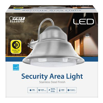 50-Watt Stainless Outdoor Integrated LED 13 in. Wall/Post Mount Security Area Light with Dusk to Dawn Photocell