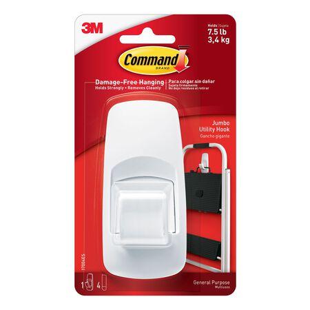 3M Command Jumbo Utility Hook 4-1/4 in. L Plastic 7-1/2 lb. 1 pk