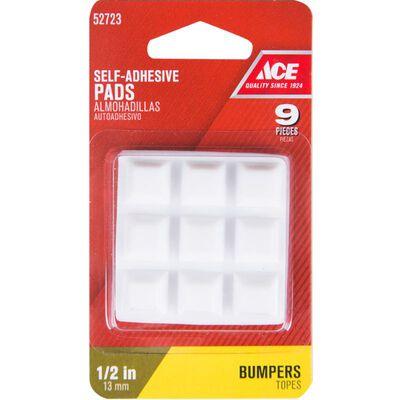 Ace Vinyl Square Bumper Pads White 1/2 in. W x 1/2 in. L 9 pk