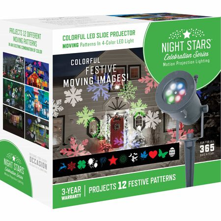 Night Stars Lightshow LED Holiday Images Motion Projector White 1 lights