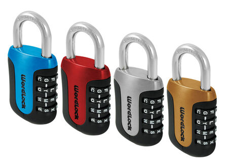 Wordlock 3-1/2 in. 4-Dial Combination Steel Padlock