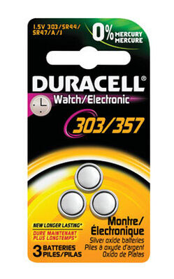 Duracell 303/357 Silver Oxide Watch/Electronic Battery 1.5 volts 3 pk
