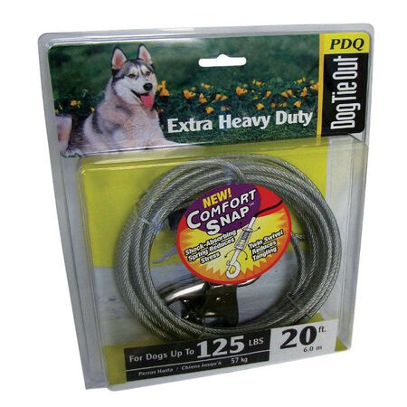 PDQ Extra Heavy Duty Vinyl Coated Cable Tie Out 20 ft. L For Up to 125 Pounds