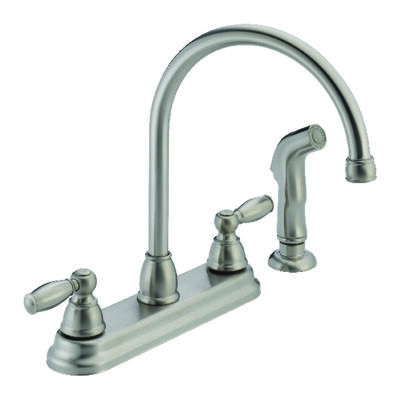 Peerless Apex Two Handle Stainless Steel Kitchen Faucet Side Sprayer Included