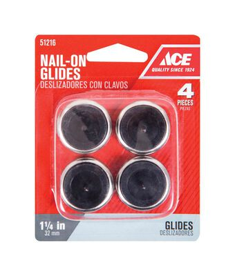 Ace 1.25 in. W x 1.25 in. Dia. Nylon / Nickle Nail-On Glide with Nickel Base 4