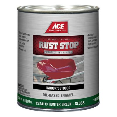 Ace Interior/Exterior Rust Stop Oil-based Enamel Paint Green Gloss 1 qt.