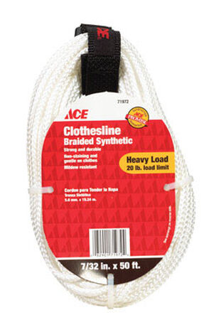 Ace 50 ft. L White Polyester Synthetic Clothesline