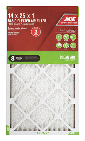 Ace 25 in. L x 14 in. W x 1 in. D Pleated Air Filter 8 MERV
