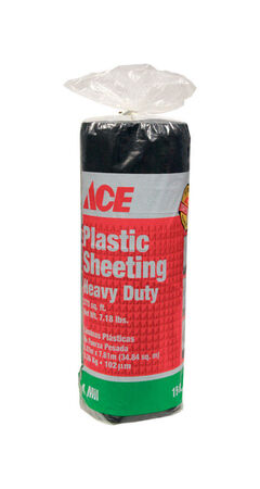 Ace Plastic Sheeting 4 mil x 15 ft. W x 25 ft. L Polyethylene Black