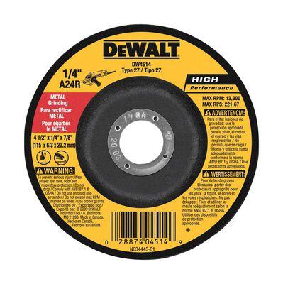 "4-1/2"" x 1/4"" x 7/8"" High Performance Metal Grinding Wheel"