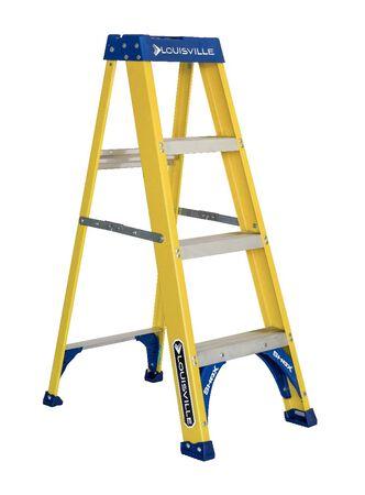 4 ft Louisville FS2004 Fiberglass Step Ladder, Type I, 250 lb Load Capacity
