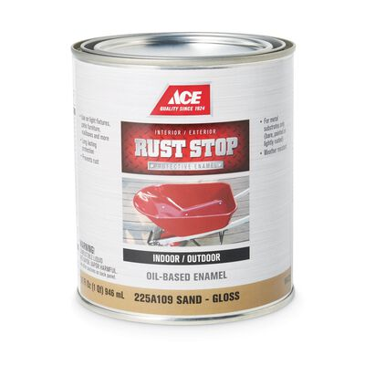 Ace Interior/Exterior Rust Stop Oil-based Enamel Paint Sand Gloss 1 qt.
