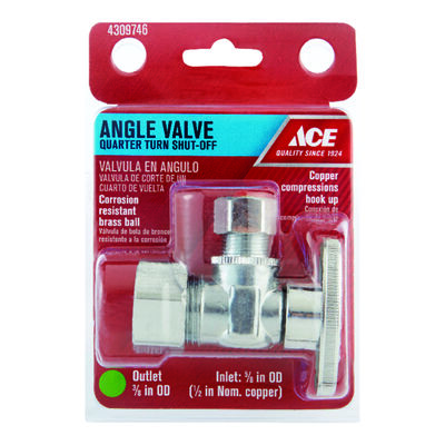 Ace 5/8 in. Dia. x 3/8 in. Dia. Ball Angle Shut-Off Valve Brass