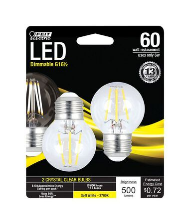 FEIT Electric LED Bulb 6 watts 500 lumens 2700 K Globe G16-1/2 Soft White 60 watts equivalency