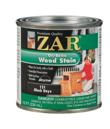 ZAR Semi-Transparent Oil-Based Wood Stain Black Onyx Tintable 1/2 pt.