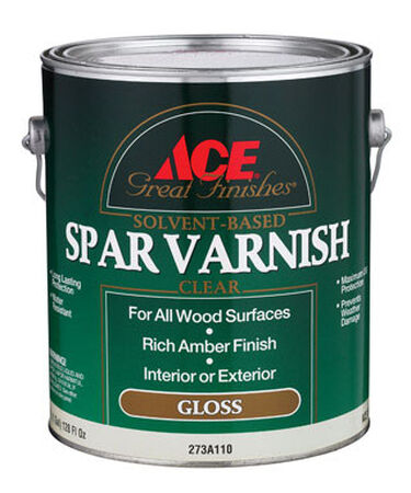 Ace Indoor and Outdoor Rich Amber Gloss Solvent Based Spar Varnish 1 gal.