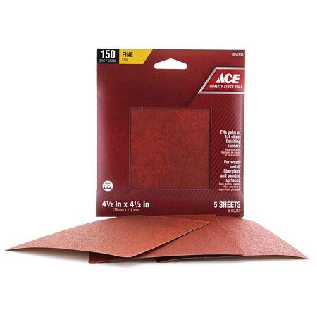 Ace 4.5 in. L x 4.5 in. W 150 Grit Aluminum Oxide Sandpaper 5 pk