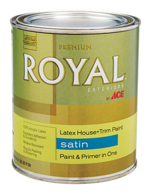 Ace Royal Acrylic Latex House & Trim Paint & Primer Satin 1 qt. Ultra White