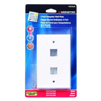 Monster Cable Just Hook It Up White Multi-Media Keystone Wall Plate