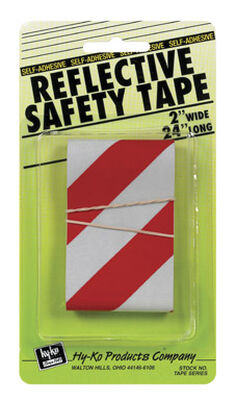 """Hy-Ko Safety Tape 2"""" X 24"""" Red Silver"""