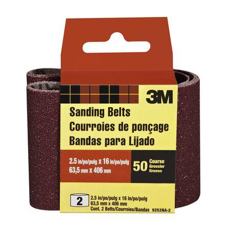 3M Sanding Belt 2-1/2 in. W x 16 in. L 50 Grit Coarse 2 pk
