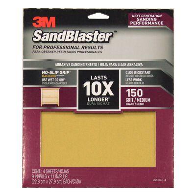3M SandBlaster Sharp Synthetic Mineral Sandpaper 11 in. L x 9 in. W 150 Grit Medium 4 pk
