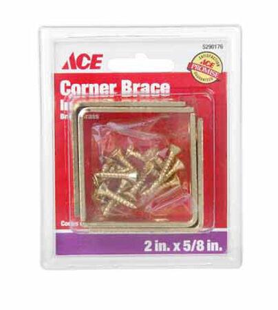 Ace Inside L Corner Brace 2 in. x 5/8 in. Brass
