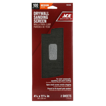 Ace 11-1/4 in. L x 4-1/4 in. W 100 Grit Silicon Carbide Drywall Sanding Screen 2 pk