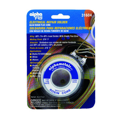 Alpha Fry 4 oz. For Electrical Repair Solder 60% Tin 40% Lead Tin / Lead