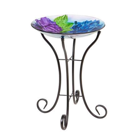 """16"""" glass birdbath w/stand hydrangea"""