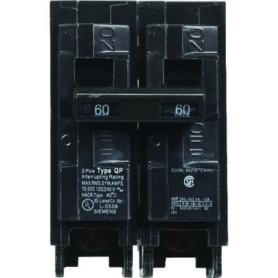 Siemens Double Pole Circuit Breaker 60 amps Plug-In 120/240 volts 2.9 in. L