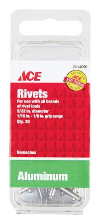 Ace 1/6 in. Dia. x 1/8 in. Aluminum Rivets 20 pk