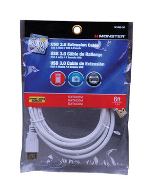 Monster 6 ft. L White USB Cable Extensions