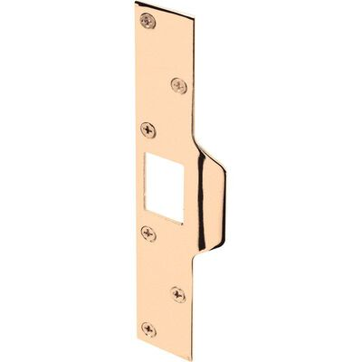 Prime-Line Maximum Security Deadlatch Strike 3 in. 1-1/4 in. x 7/7/8 in. Brass Steel 1/Carded