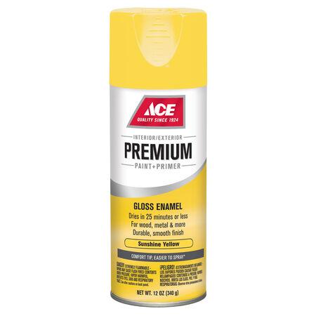 Ace Premium Gloss Sunshine Yellow Enamel Spray Paint 12 oz.