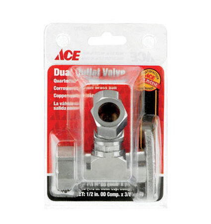 Ace 5/8 in. Dia. x 1/2 in. Dia. Ball Dual Shut-Off Valve Brass