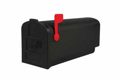 Solar Group Gibraltar Deluxe Polybox Plastic Post Mounted Mailbox Black 9-9/16 in. H x 19-3/8