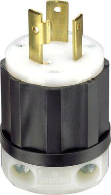 Leviton Industrial Nylon Grounding Locking Plug L5-30P 2 Pole 3 Wire Black/White