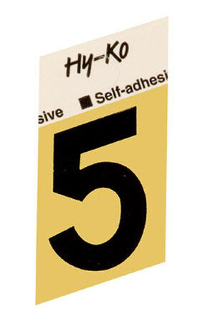 Hy-Ko Self-Adhesive Black Aluminum Number 5 1-1/2 in.