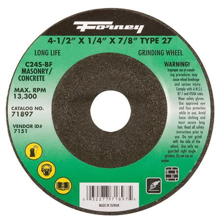 Forney 4-1/2 in. Dia. x 1/4 in. thick x 7/8 in. Masonry Grinding Wheel