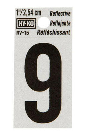 Hy-Ko Self-Adhesive Black 1 in. Reflective Vinyl Number 9