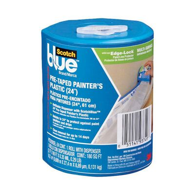 3M Scotch Blue Pre-Taped Painter's Plastic 30 yd. L x 24 in. W Edging Medium Strength