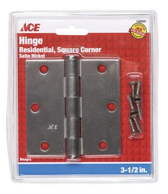 Ace Steel Residential Hinge 3-1/2 in. L Satin Nickel 1 pk